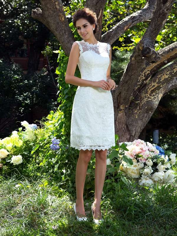 Knee-Length Ivory Sheer Neck Wedding Dresses with Applique