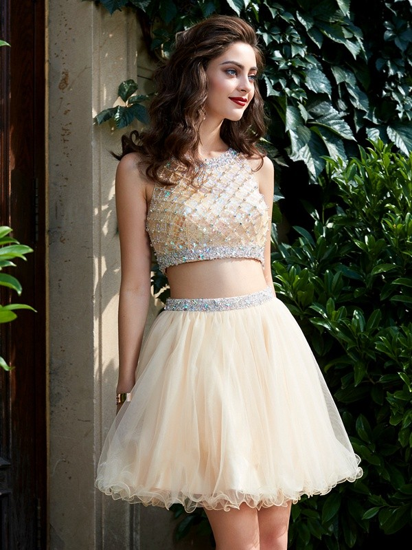 A-Line Net Scoop Short/Mini Homecoming Dresses with Beading