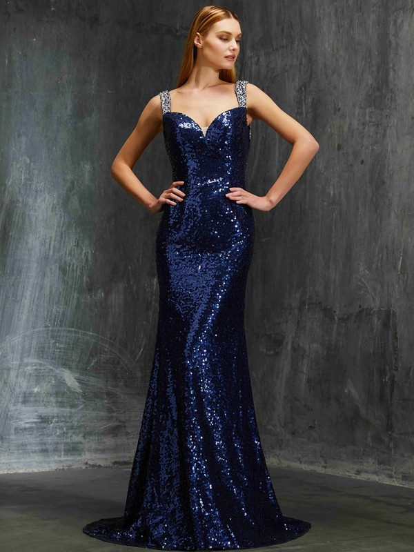 Sheath V-neck Brush Train Dark Navy Prom Dresses