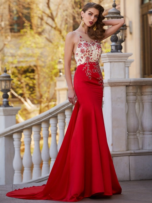Red Sheer Neck Court Train Prom Dresses