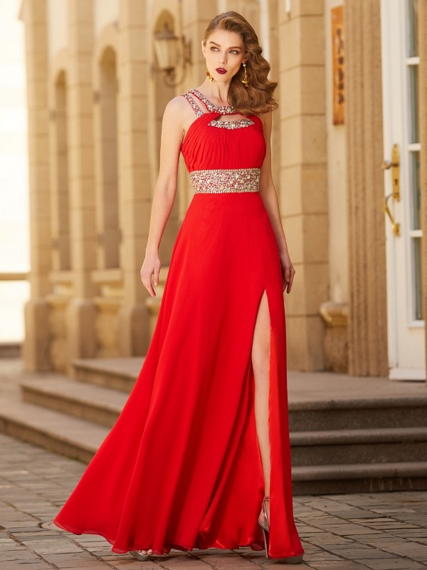 A-Line Chiffon Scoop Floor-Length Red Prom Dresses