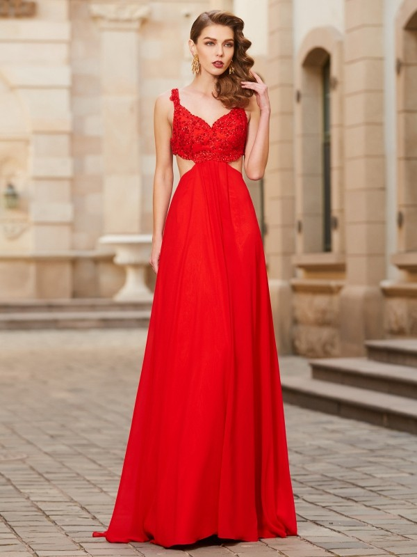 A-Line Straps Floor-Length Red Prom Dresses