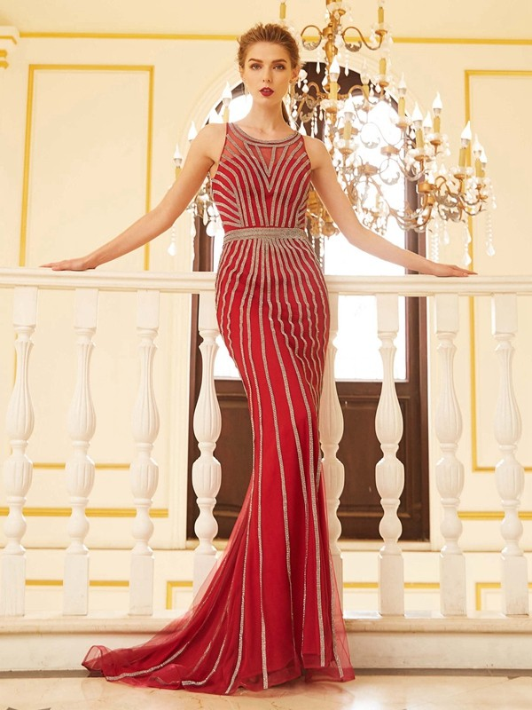 Red Scoop Net Brush Train Prom Dresses