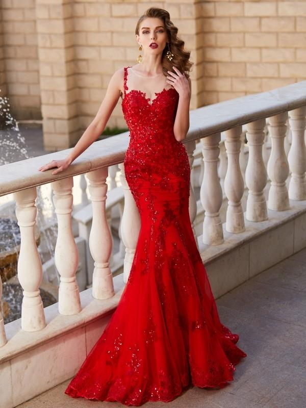 Tulle Sheer Neck Brush Train Red Prom Dresses