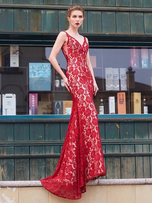 Sheath Lace Spaghetti Straps Brush Train Red Prom Dresses