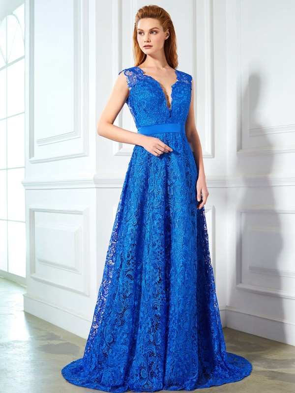 A-Line V-neck Brush Train Royal Blue Prom Dresses with Bowknot