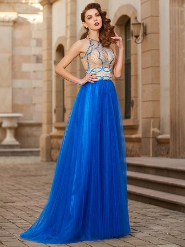 Tulle Jewel Floor-Length Royal Blue Prom Dresses