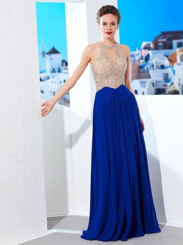 Floor-Length Royal Blue Scoop Prom Dresses with Crystal