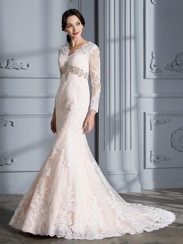 Organza V-neck Brush Train Pink Wedding Dresses