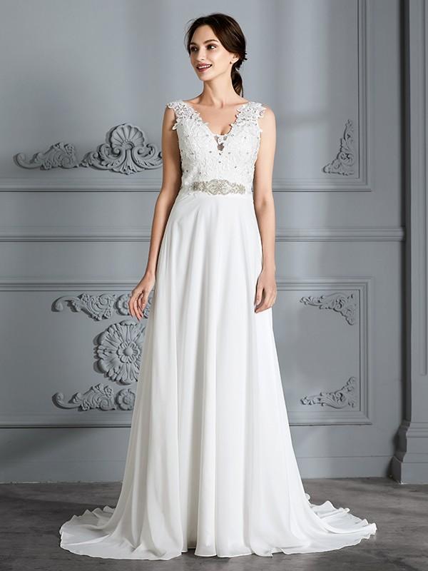 A-Line Chiffon V-neck Brush Train Wedding Dresses