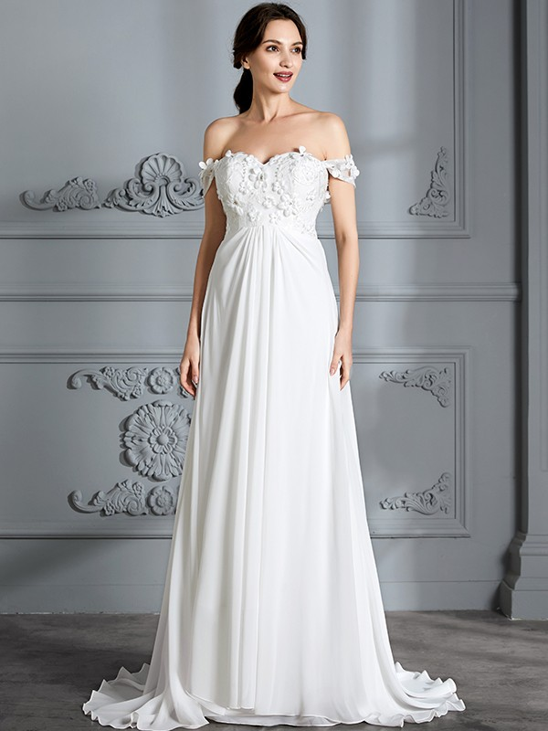 A-Line Off-the-Shoulder Floor-Length Ivory Wedding Dresses