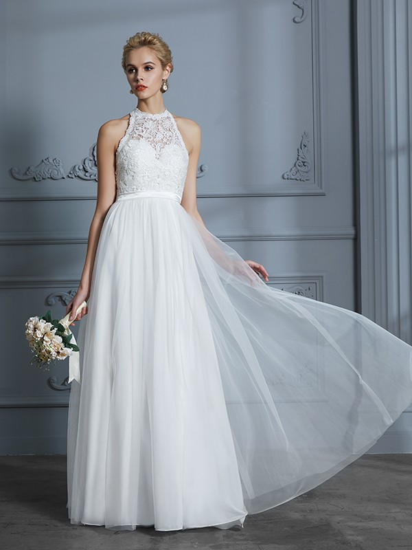 A-Line Scoop Floor-Length Ivory Wedding Dresses