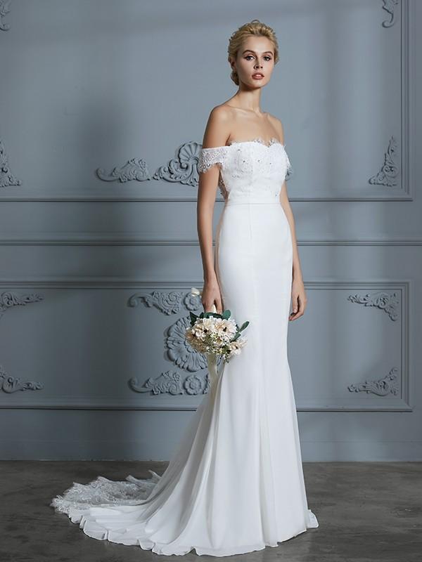 Mermaid Off-the-Shoulder Brush Train Ivory Wedding Dresses