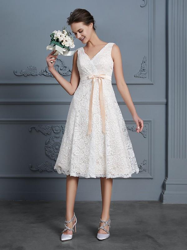 Lace V-neck Knee-Length Ivory Wedding Dresses