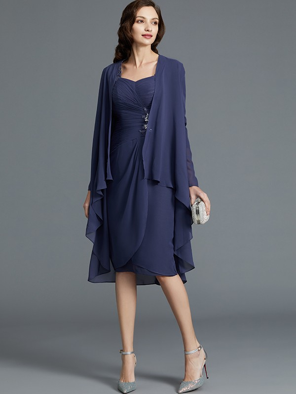 Chiffon Sweetheart Knee-Length Dark Navy Mother of the Bride Dresses