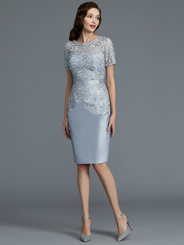 Satin Sheath Knee-Length Scoop Silver Mother of the Bride Dresses