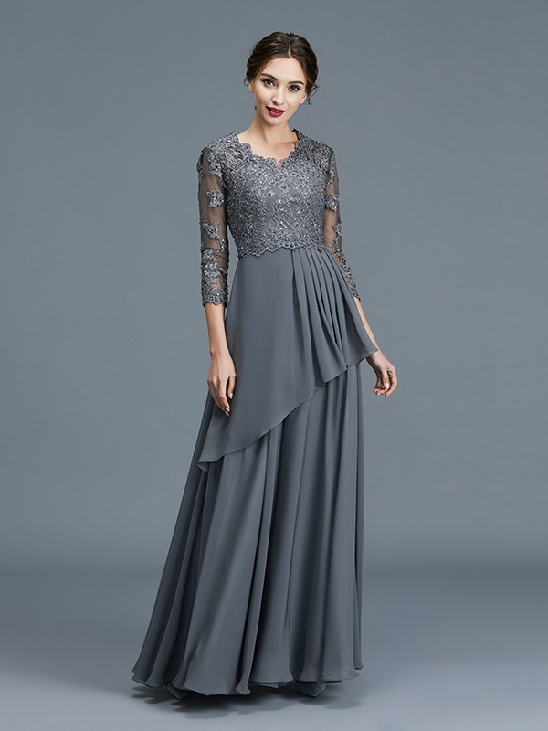 Floor-Length Grey 3/4 Sleeves V-neck Mother of the Bride Dresses with Ruffles