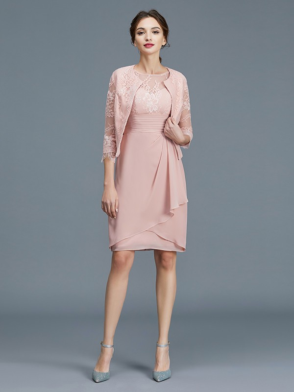 Sheath Sheer Neck Knee-Length Pink Mother of the Bride Dresses