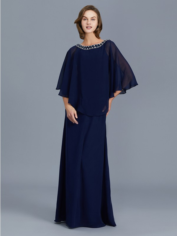 Sheath Scoop Floor-Length Dark Navy Mother of the Bride Dresses with Beading
