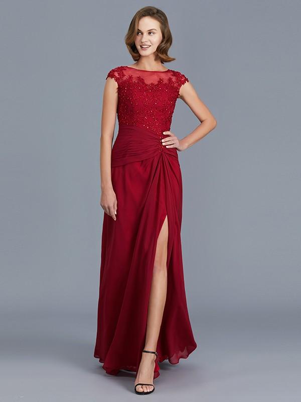 Chiffon Scoop Floor-Length Burgundy Mother of the Bride Dresses