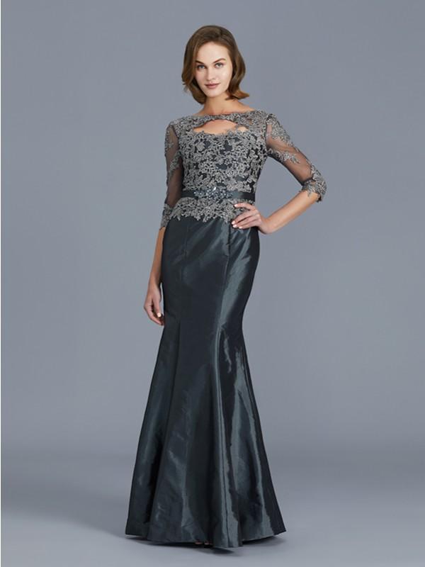 Taffeta Mermaid Floor-Length 3/4 Sleeves Scoop Grey Mother of the Bride Dresses