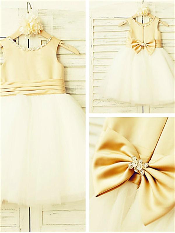 Tulle Scoop Tea-Length Gold Flower Girl Dresses
