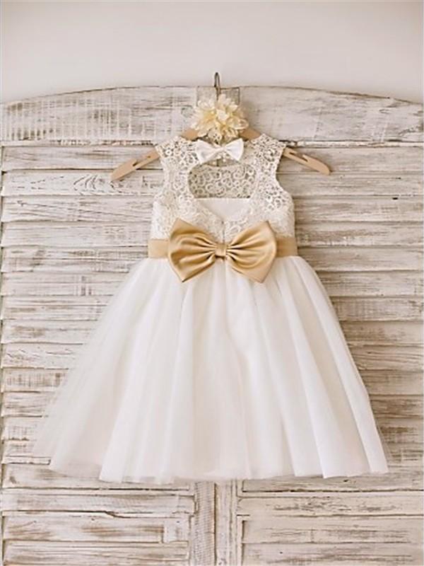 A-line/Princess Sleeveless Bowknot Scoop Floor-Length Tulle Flower Girl Dresses