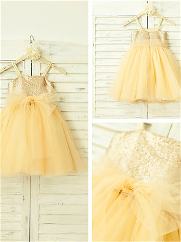 Pink Spaghetti Straps Tea-Length Flower Girl Dresses with Sequin