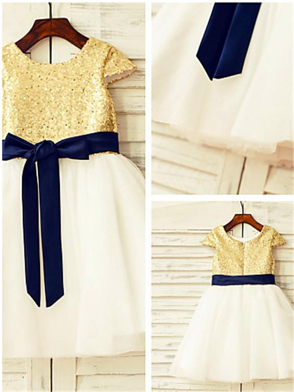 Tulle Short Sleeves Scoop Knee-Length Flower Girl Dresses with Sequin