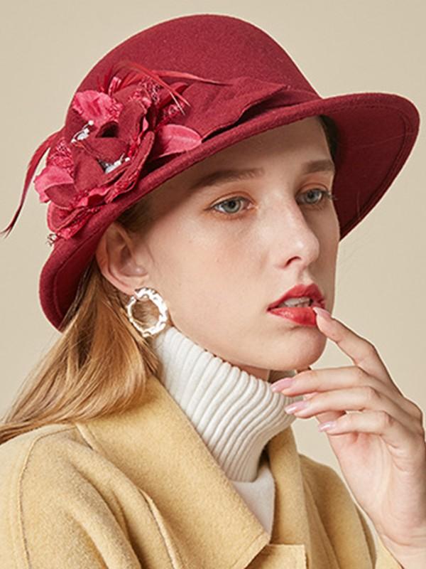Ladies' Elegant Wool Silk Flower Adjustable Floppy Hats