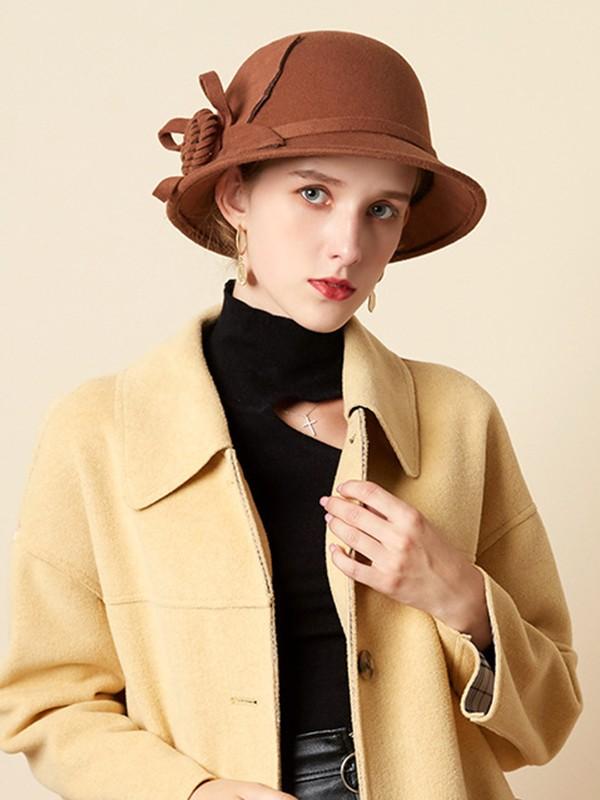 Ladies' Romantic Wool Silk Flower Floppy Hats