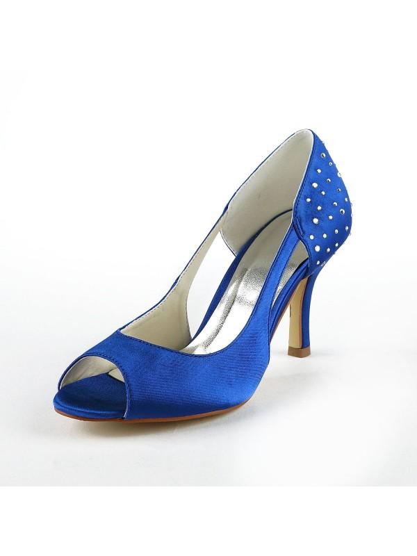 Gorgeous Satin Stiletto Heel Peep Toe With Rhinestone High Heels