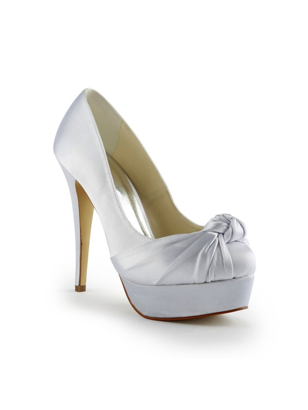 Gorgeous Satin Stiletto Heel Pumps With Ruched White Wedding Shoes