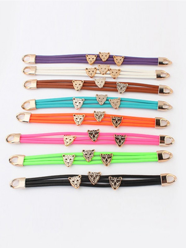 Occident Candy colors Summer All-match Leopard head Fashion Bracelets