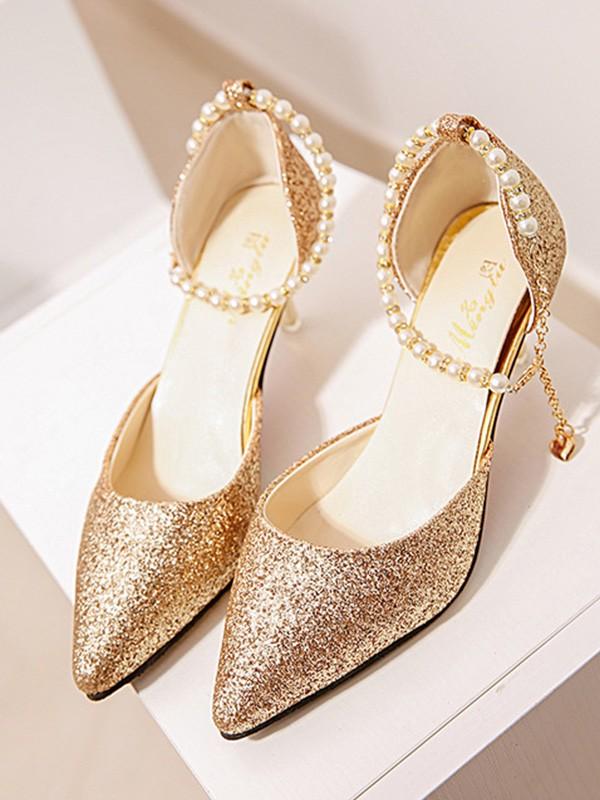 Women's Pearl Stiletto Heel Closed Toe High Heels