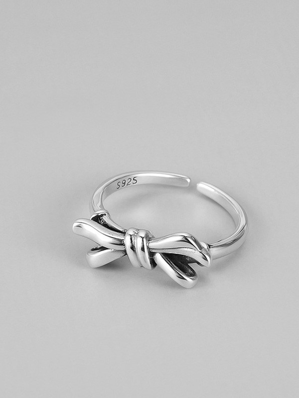 Unique S925 Silver With Bowknot Adjustable Rings