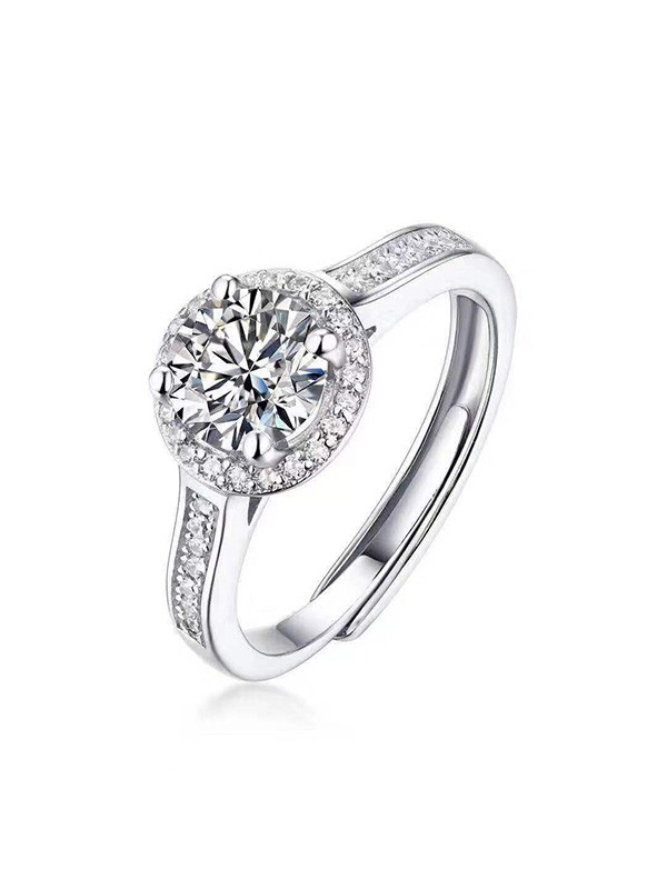 Unique 925 Sterling Silver With Mosanite Adjustable Wedding Rings