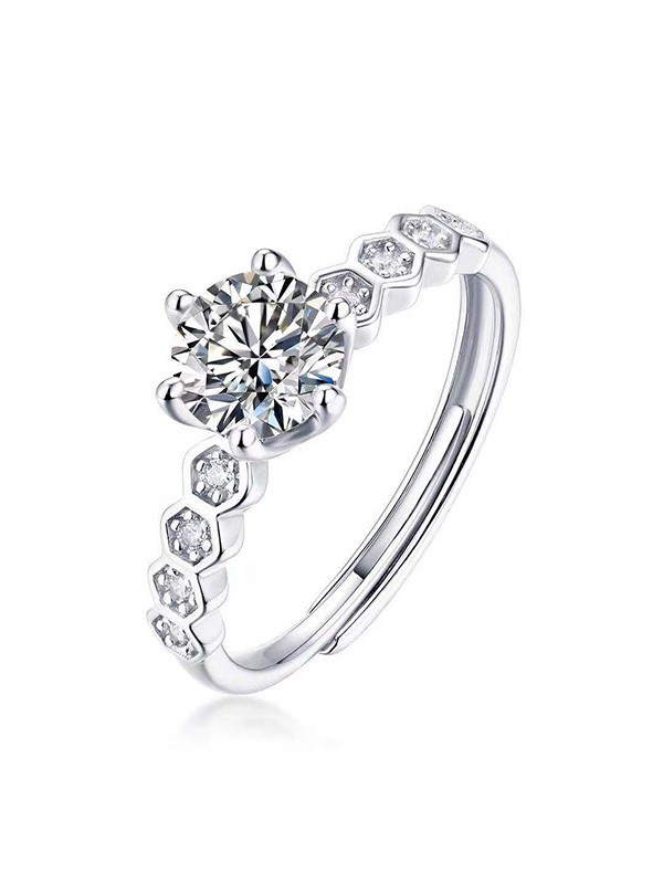 Attractive 925 Sterling Silver With Mosanite Adjustable Wedding Rings