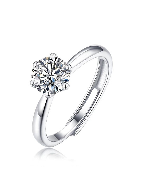 Unique S925 Silver With Mosanite Adjustable Wedding Rings