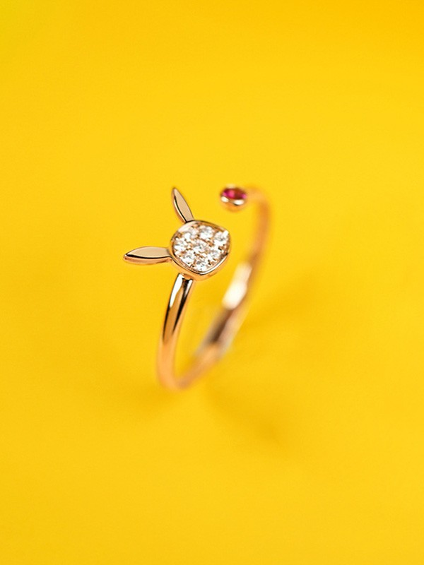 Cute Copper With Rhinestone Adjustable Rings