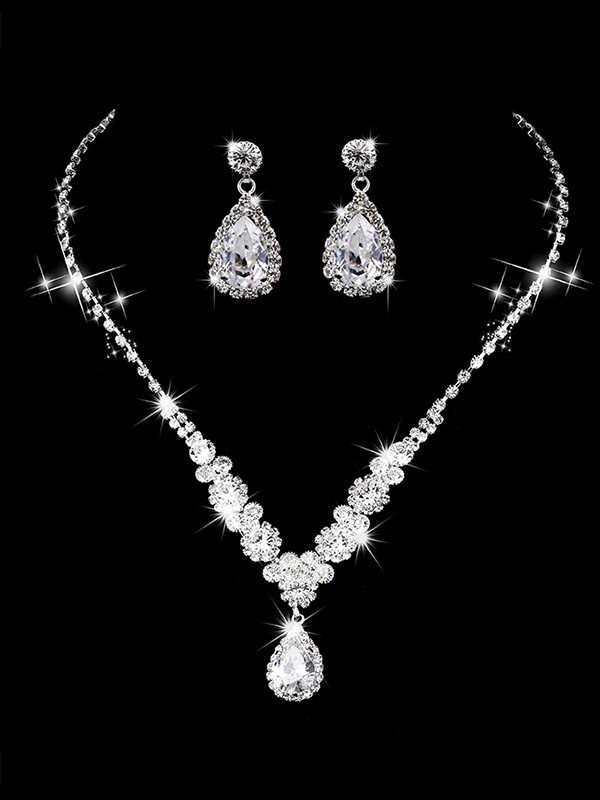Graceful Copper With Rhinestone Jewelry Sets For Ladies