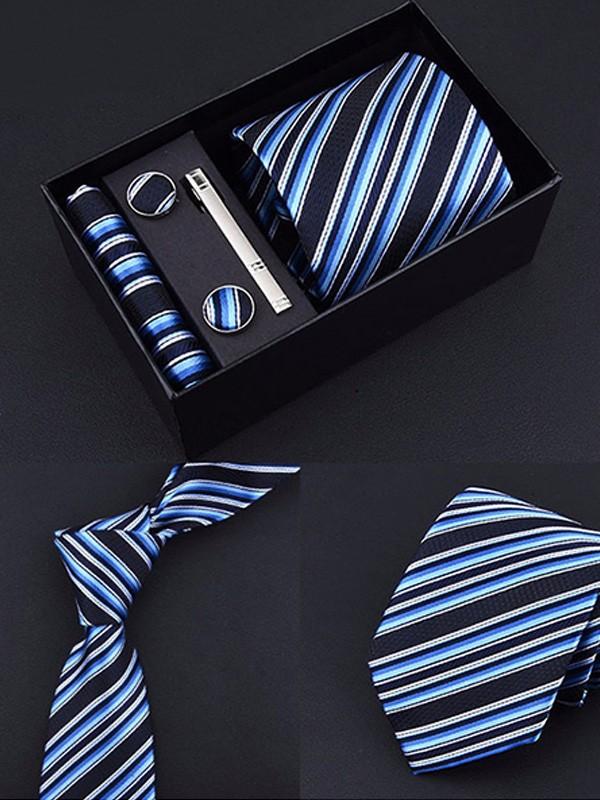 Vintage Polyester Tie Tie Clip Cufflinks