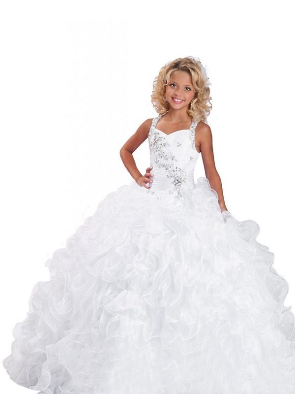 Straps Floor-Length White Flower Girl Dresses with Beading