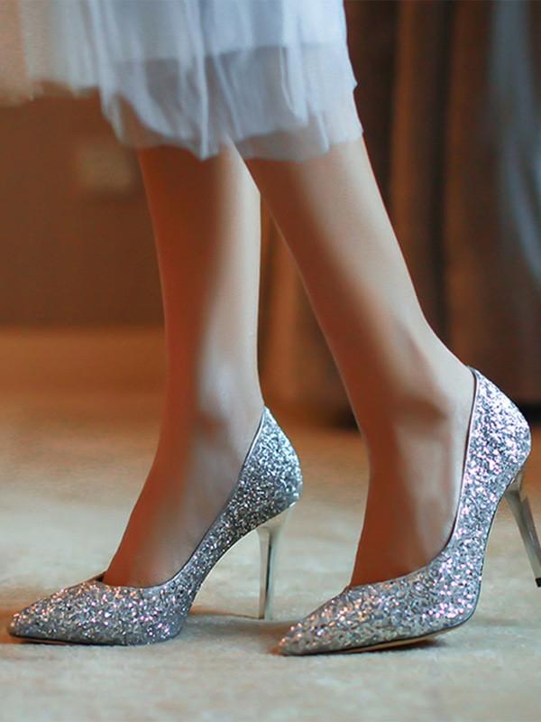 Women's Closed Toe Stiletto Heel Sparkling Glitter High Heels