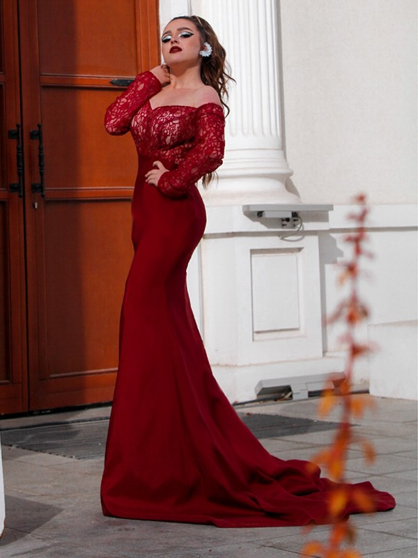 Trumpet/Mermaid Elastic Woven Satin Applique Off-the-Shoulder Long Sleeves Sweep/Brush Train Dresses