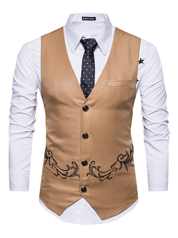Classic Cotton With Embroidery Men's Vest/Waistcoat