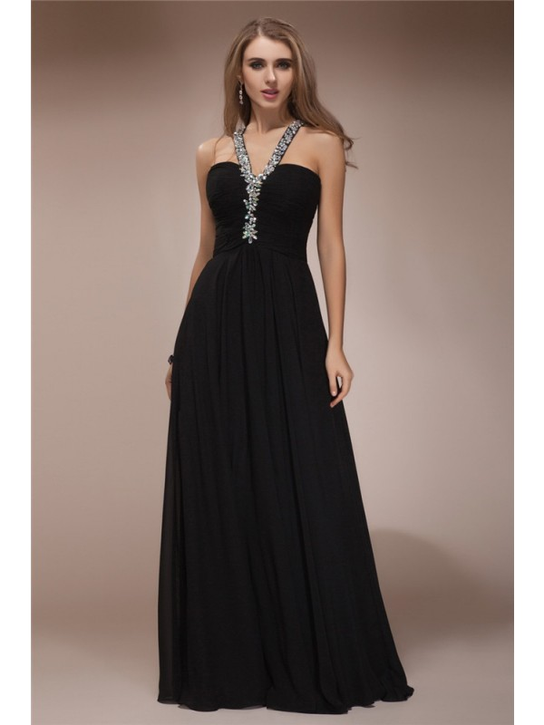 Sheath Halter Floor-Length Black Prom Dresses with Beading