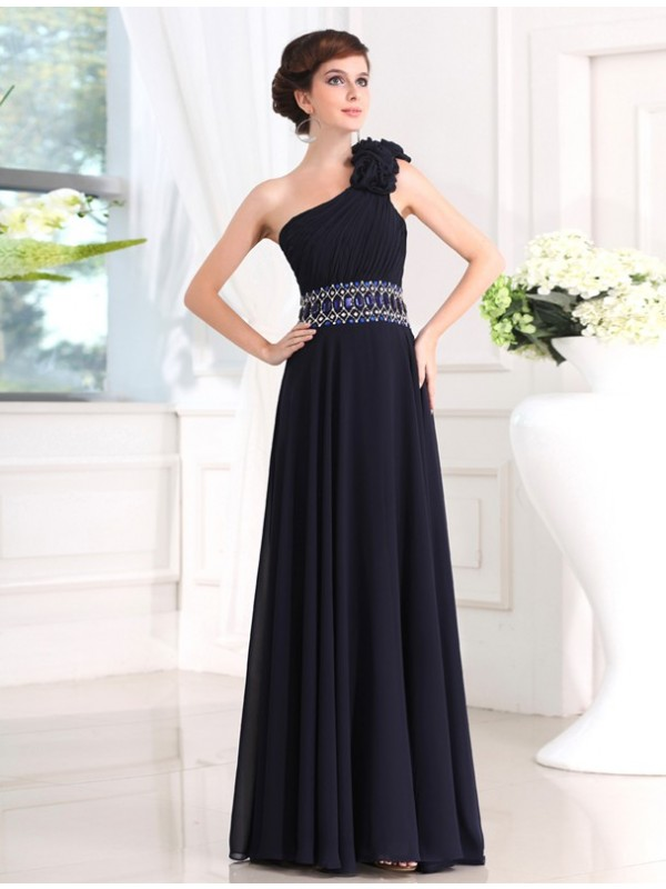 Sheath One-Shoulder Floor-Length Black Prom Dresses