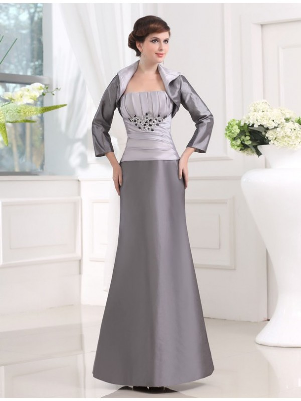 Taffeta Sheath Ankle-Length Strapless Grey Mother of the Bride Dresses