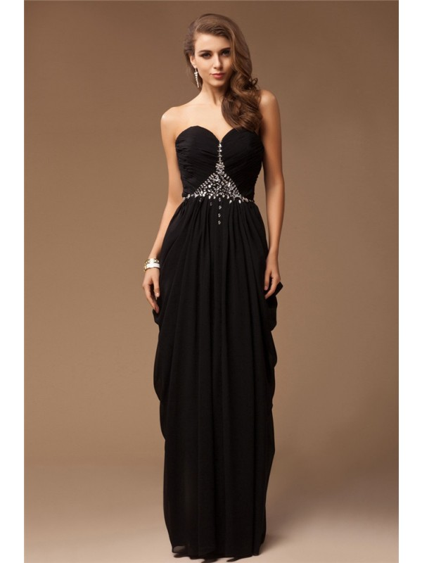 Chiffon Sheath Floor-Length Sweetheart Black Prom Dresses